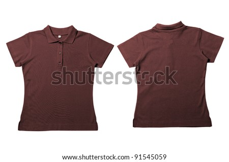 Vintage  Dark Brown Female color Polo Shirt with white background Men Front and back Polo Shirt