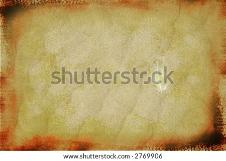 vintage dark faded brown border with spots and marks on grunge sand and feather texture