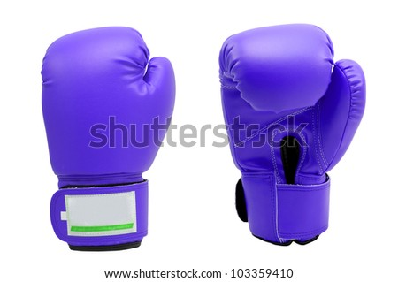 Vintage  dark purple color Boxing gloves Front and Back side with white blackground