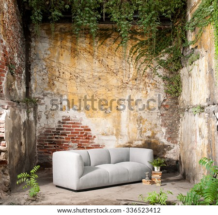 vintage decor modern sofa ruined wall