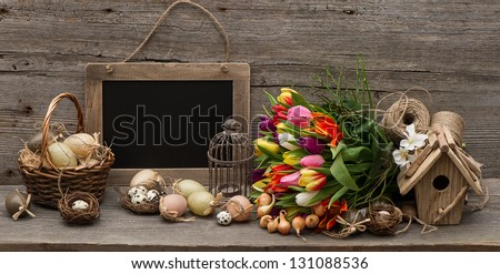 vintage decoration with eggs. nostalgic wooden background
