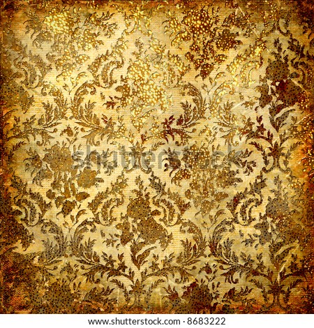 vintage decorative background in grunge style with golden patterns - stock photo