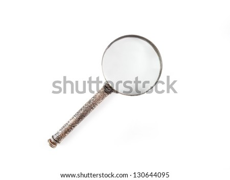 Vintage decorative magnifier isolated on white background