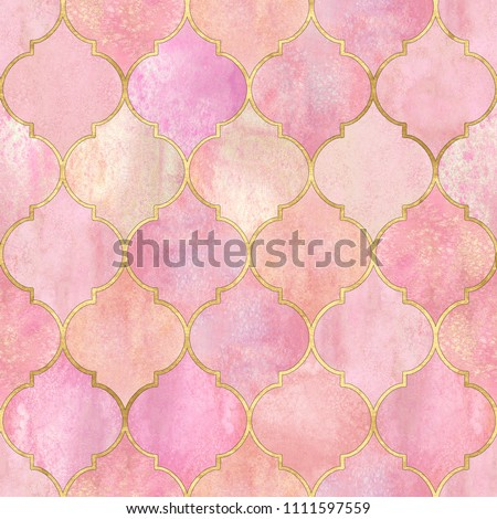 Vintage decorative moroccan seamless pattern with gold line. Watercolor hand drawn light pink background. Watercolour geometrical oriental elements texture. Print for textile, wallpaper, wrapping.