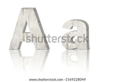 Vintage decorative Wooden alphabet 3D letters on white background isolated with mirroring. Capital letter A and small letter a
