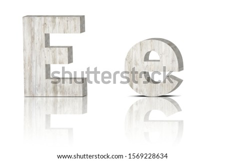 Vintage decorative Wooden alphabet 3D letters on white background isolated with mirroring. Capital letter E and small letter e