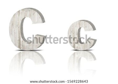 Vintage decorative Wooden alphabet 3D letters on white background isolated with mirroring. Capital letter C and small letter c