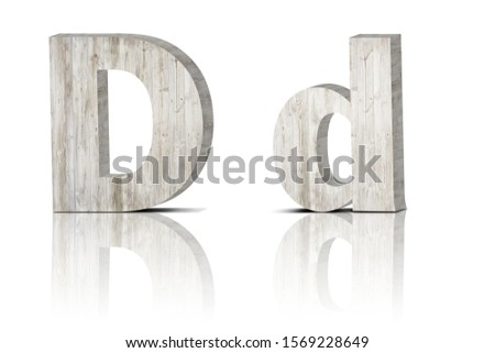 Vintage decorative Wooden alphabet 3D letters on white background isolated with mirroring. Capital letter D  and small letter d