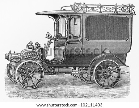 Vintage delivery car with 8 HP  one cylinder engine from the beginning of 20th century - Picture from Meyers Lexikon book (written in German language) published in 1908 Leipzig - Germany.