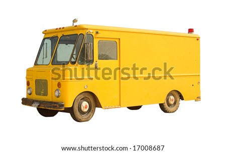 Vintage delivery van isolated on white - blank and ready for branding