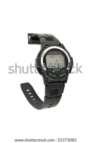 Vintage digital wristwatch with databank