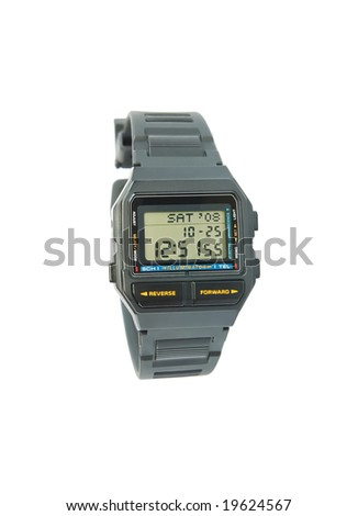Vintage digital wristwatch with databank and scheduler
