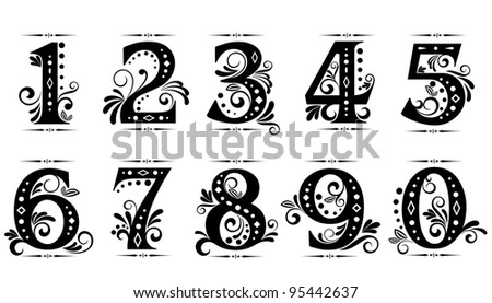 Vintage digits and numbers set with decorations