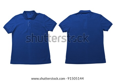 26e4e48ee295 Vintage Dimmed blue color Polo Shirt with white background Men Front and back  Polo Shirt #