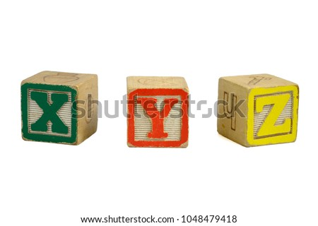 Vintage Distressed Toy Blocks, Letters X, Y, Z, Green, Red, Yellow Zdjęcia stock ©