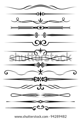 Vintage dividers and borders set for ornate and decoration. Vector version also available in gallery