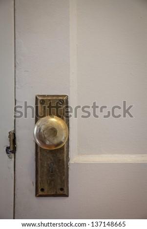 Vintage door handle closeup in color