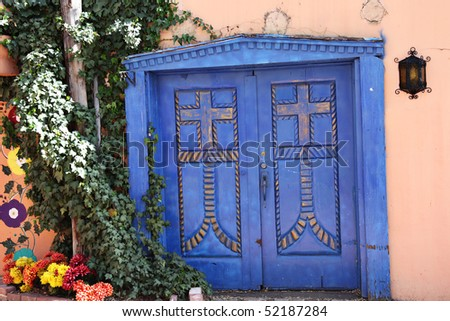 Vintage door in Old Town in Albuquerque, New Mexico