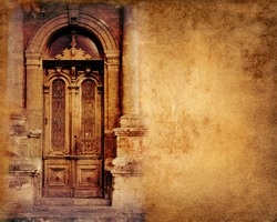 Vintage door on paper background