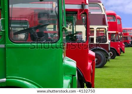 vintage double decker buses in...