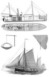 Vintage drawing of a fishing boat at the end of 19th century - Picture from Meyers Lexicon books collection (written in German language ) published in 1906 , Germany.