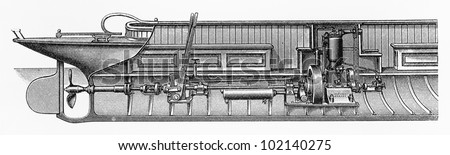 Vintage drawing of a gasoline boat engine from the beginning of 20th century - Picture from Meyers Lexikon book (written in German language) published in 1908 Leipzig - Germany.