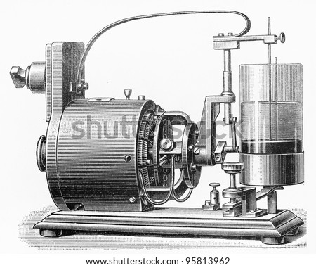 Vintage drawing of a Mercury engine with interrupter contact from early 1900's - Picture from Meyers Lexicon books collection (written in German language ) published in 1909 , Germany.
