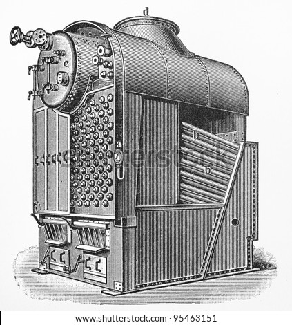 Vintage drawing of a steamboat steam boilers at the beginning of 20th century -  Picture from Meyers Lexicon books collection (written in German language ) published in 1906 , Germany.