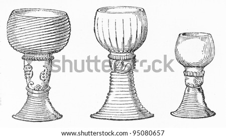Vintage drawing of Ancient Rome wine glasses - Picture from Meyers Lexicon books collection (written in German language ) published in 1909 , Germany.