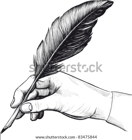 Vintage drawing of hand with a feather pen in style of an engraving. Raster version