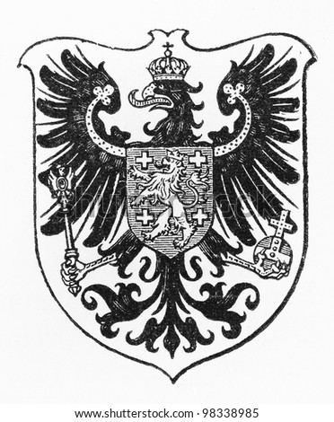 Vintage drawing of Saarbrucken Coat of arms from the end of 19th century  -  Picture from Meyers Lexicon books collection (written in German language) published in 1909, Germany.