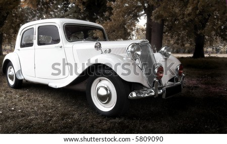 vintage dream wedding car (selective soft focus)