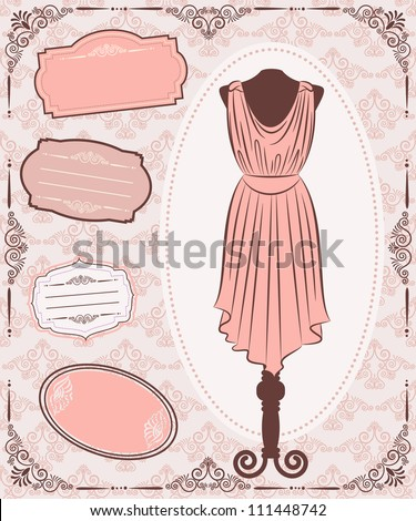 Vintage dress with lace ornaments.
