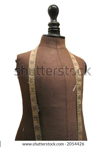 Vintage dressmaker or tailor dummy / mannequin / fashion model. Isolated and clipping path included.