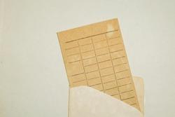 Vintage due date card, grunge paper texture.
