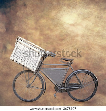 vintage dutch old carrier bike with shopping basket on grunge background
