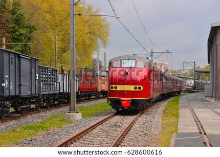 vintage dutch train composition ...