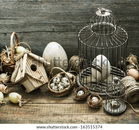 Vintage Easter Decoration With Eggs Birdhouse And Birdcage Nostalgic Country Style Home