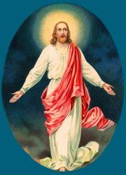 Vintage Easter Greeting Illustration of Resurrected Jesus Christ, circa 1910