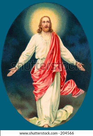 Vintage Easter Greeting Illustration of Resurrected Jesus Christ, circa 1910