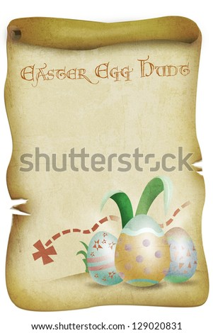 Vintage Easter Themed Illustration with Eggs with Easter Egg Hunt Text. Isolated on white.