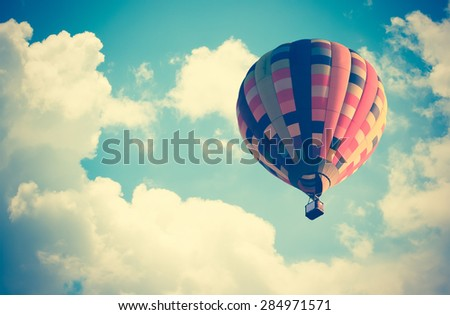 vintage effect style of Hot air balloon in the sky