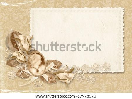 Vintage elegant frame with roses
