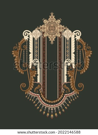 Vintage elements in baroque Motif Design Illustration Artwork for textile print For Digital painting.Design for cover, fabric, textile, wrapping paper