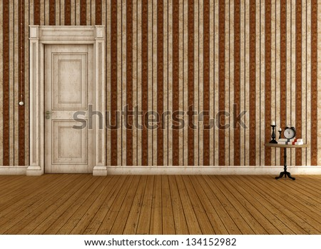 Vintage empty room with striped wallpaper and dirty door - rendering