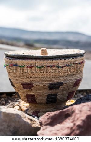 vintage empty weave wicker basket in Djibouti, East Africa