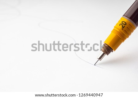 Vintage engineering drawing Tool or Drafting Pen set on drafting table multipurpose desk used by architects . selective focus . Space for text