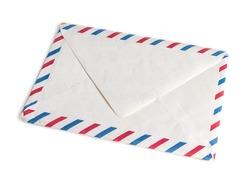 Vintage envelope, blank, closed, old yellowed paper with par avion color marks