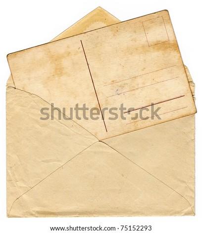 Vintage envelope with an old postcard