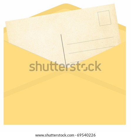 Vintage envelope with postcard isolated on a white